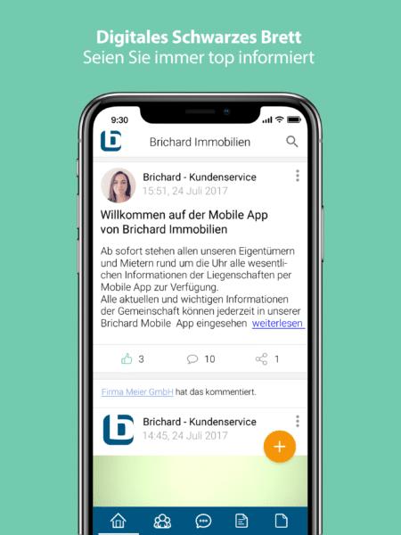 Brichard app Digitales Schwarzes Brett